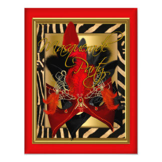 Masquerade Zebra Mask Red Gold Birthday Party Card