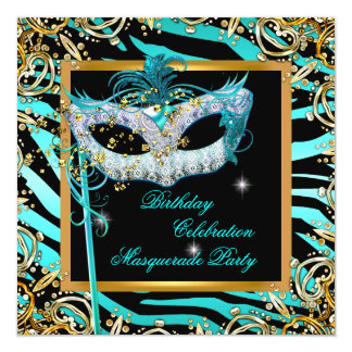 Masquerade Zebra Teal Blue Gold Mask Party 5.25x5.25 Square Paper Invitation Card