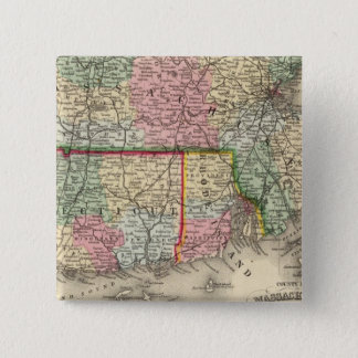 Mass, Conn, RI Map by Mitchell 15 Cm Square Badge