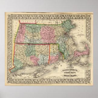 Mass, Conn, RI Map by Mitchell Poster