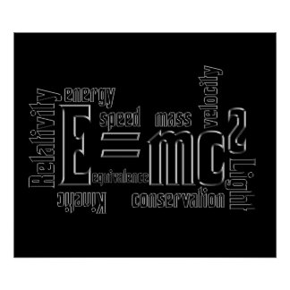 Mass Equivalence E=MC2 Science Poster Typography