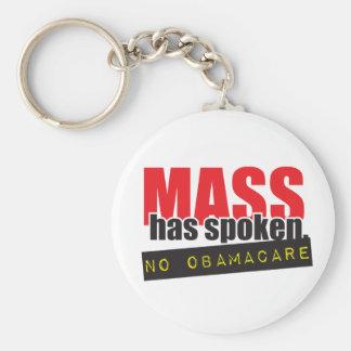 Mass Has Spoken - No ObamaCare Basic Round Button Key Ring