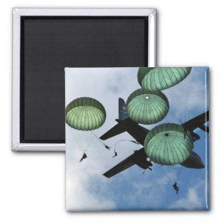 Mass Jump Mission, Parachutes, U.S. Army Square Magnet