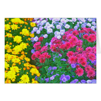 """Mass Of Colorful Flowers:Yellow;Blue;Pink& Green"" Note Card"