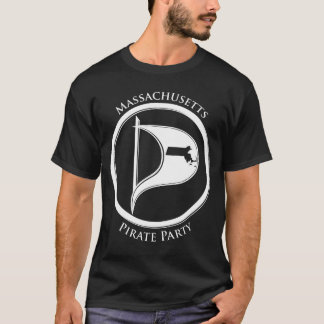 Mass Pirate Flage w/Text Dark T-Shirt