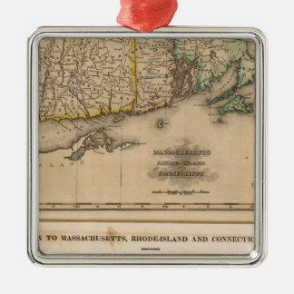 Mass, Rhode Island, Connecticut Silver-Colored Square Decoration