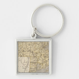 Mass, Rhode Island Silver-Colored Square Key Ring