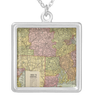 Mass, RI 3 Silver Plated Necklace