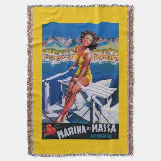 Massa Marina Travel Poster Throw Blanket