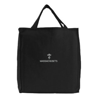 MASSACHUSETS, MA BLACK TOTE EMBROIDERED TOTE BAGS