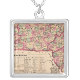 Massachusetts 8 silver plated necklace