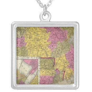 Massachusetts And Rhode Island 2 Silver Plated Necklace