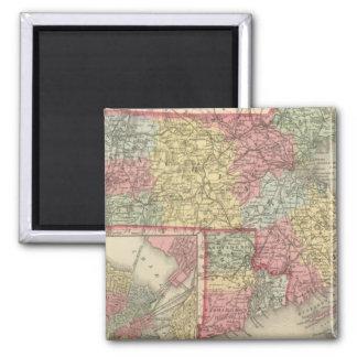 Massachusetts and Rhode Island 2 Square Magnet