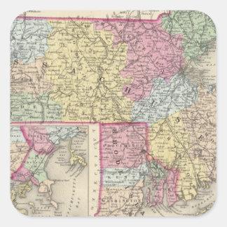 Massachusetts And Rhode Island 2 Square Sticker