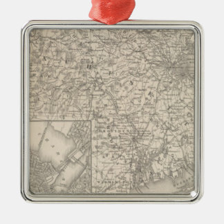 Massachusetts and Rhode Island Silver-Colored Square Decoration