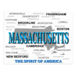Massachusetts Cities and Towns State Pride Map Postcard