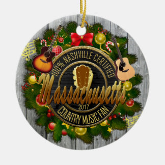Massachusetts Country Music Christmas Ornament