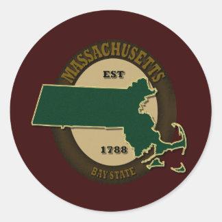 Massachusetts Est 1788 Round Sticker
