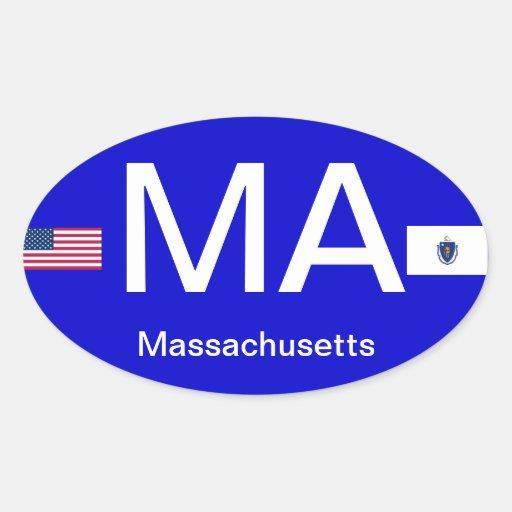 Massachusetts* European Style Oval Sticker