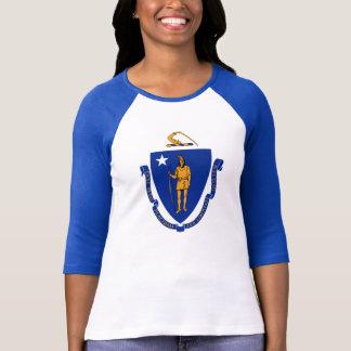 Massachusetts Flag for Women's-T-Shirt-White-Blue T-Shirt