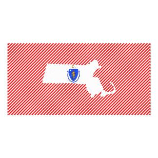 Massachusetts Flag Map Personalised Photo Card
