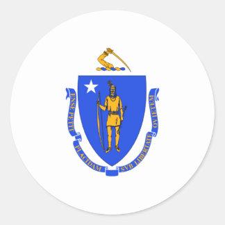 Massachusetts Flag Round Stickers