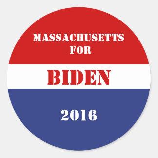 Massachusetts for Biden 2016 Round Sticker