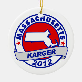 Massachusetts Fred Karger Double-Sided Ceramic Round Christmas Ornament