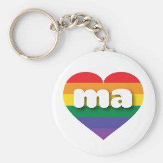 Massachusetts gay pride rainbow heart - mini love key ring