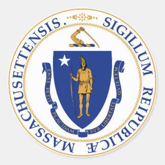 Massachusetts Great Seal Round Sticker