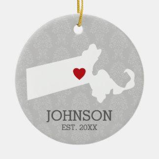 Massachusetts Home State City Map - Custom Wedding Christmas Ornament