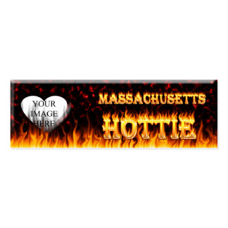 Massachusetts Hottie fire and red marble heart. Pack Of Skinny Business Cards
