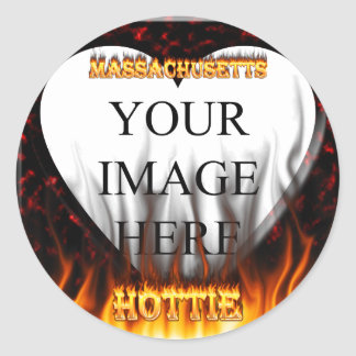 Massachusetts Hottie fire and red marble heart. Round Sticker