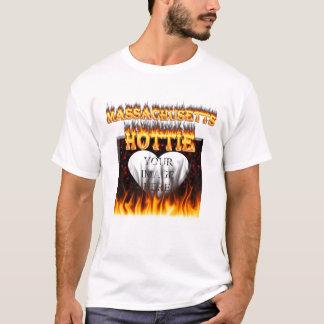 Massachusetts Hottie fire and red marble heart. T-Shirt