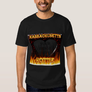 Massachusetts Hottie fire and red marble heart. Tshirt