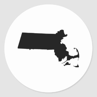 Massachusetts in Black Classic Round Sticker