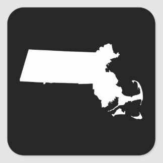 Massachusetts in White Square Sticker