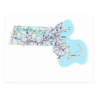 Massachusetts Interstate Map Postcard