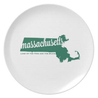 massachusetts   land of the free   green plate