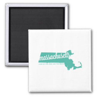 massachusetts | land of the free | ice teal square magnet
