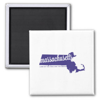 massachusetts | land of the free | violet square magnet
