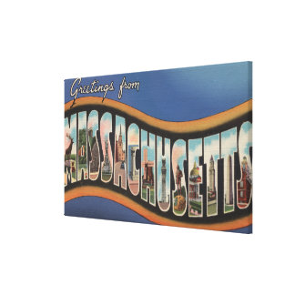 Massachusetts - Large Letter Scenes Canvas Print
