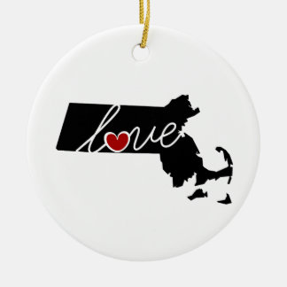 Massachusetts Love!  Gifts for MA Lovers Christmas Ornament