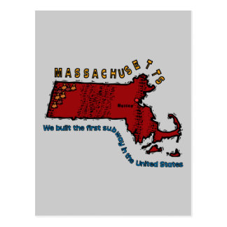 Massachusetts MA Motto ~ We built the first Subway Postcard