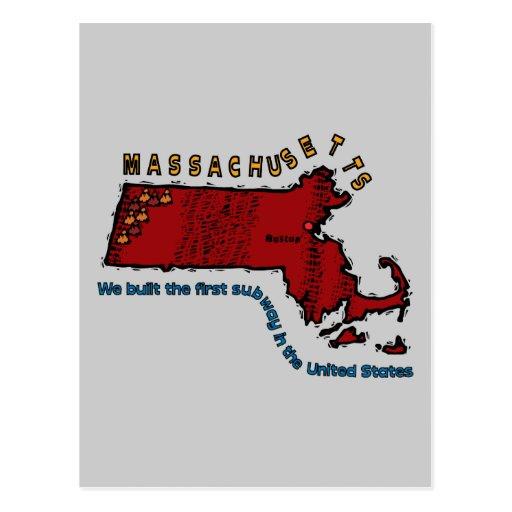 Massachusetts MA Motto ~ We built the first Subway Postcard