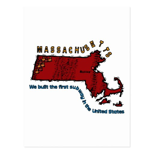 Massachusetts MA Motto ~ We built the first Subway Post Cards