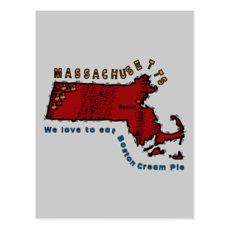 MASSACHUSETTS MA Motto ~ We love to eat Boston Pie Postcard