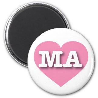 Massachusetts MA pink heart 6 Cm Round Magnet