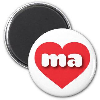 Massachusetts ma red heart 6 cm round magnet