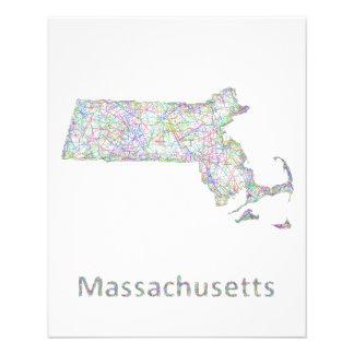 Massachusetts map 11.5 cm x 14 cm flyer